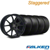 Staggered Forgestar CF5V Monoblock Piano Black Wheel & Falken Tire Kit - 19x9/10 (05-14) - American Muscle Wheels KIT||29854||29855||79571||79572