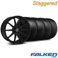 Staggered Forgestar CF10 Monoblock Staggered Textured Black Forgestar CF10 Monoblock Wheel & Falken Tire Kit - 19x9/10 (05-14 All) - American Muscle Wheels KIT||29846||29847||79571||79572