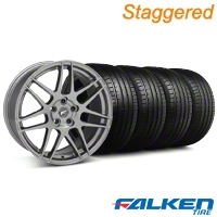 Staggered Forgestar F14 Monoblock Gunmetal Wheel & Falken Tire Kit - 19x9/10 (05-14 All) - American Muscle Wheels KIT||29612||29613||79571||79572