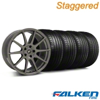 Staggered Forgestar CF10 Monoblock Gunmetal Wheel & Falken Tire Kit - 19x9/10 (05-14) - American Muscle Wheels KIT||29848||29849||79571||79572