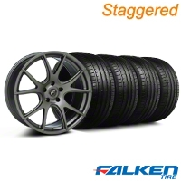 Staggered Forgestar CF5V Monoblock Gunmetal Wheel & Falken Tire Kit - 19x9/10 (05-14) - American Muscle Wheels KIT||29858||29859||79571||79572