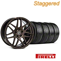 Forgestar Staggered F14 Bronze Burst Wheel & Pirelli Tire Kit - 19x9/10 (05-14 All) - Forgestar KIT||29868||29869||63101