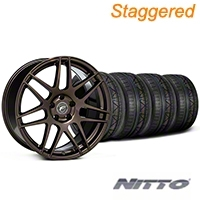 Staggered Forgestar F14 Bronze Burst Wheel & NITTO INVO Tire Kit - 19x9/10 (05-14 All) - American Muscle Wheels KIT||29868||29869||79520
