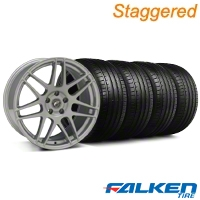 Staggered Forgestar F14 Monoblock Silver Wheel & Falken Tire Kit - 19x9/10 (05-14) - American Muscle Wheels KIT||29850||29851||79571||79572