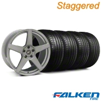 Staggered Forgestar CF5 Monoblock Silver Wheel & Falken Tire Kit - 19x9/10 (05-14) - American Muscle Wheels KIT||29852||29853||79571||79572