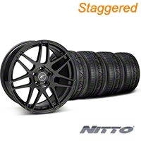 Forgestar Staggered F14 Monoblock Piano Black Wheel & NITTO INVO Tire Kit - 19x9/11 (05-14 All) - Forgestar KIT||29620||29865||79521