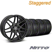 Staggered Forgestar F14 Monoblock Matte Black Wheel & NITTO INVO Tire Kit - 19x9/11 (05-14 All) - American Muscle Wheels KIT||29604||29866||79521