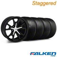 Staggered Daytona Matte Black Wheel & Falken Tire Kit - 20x8.5/9.5 (05-14 GT, V6) - American Muscle Wheels KIT||27218||mb1||79573||79574||27220