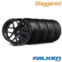 Staggered AMR Black Wheel & Falken Tire Kit - 20x8.5/10 (05-14) - American Muscle Wheels KIT||99363||99364||79573||79574