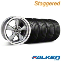 Staggered Deep Dish Bullitt Anthracite Wheel & Falken Tire Kit - 20x8.5/10 (05-10 GT, V6) - American Muscle Wheels KIT||mb1||79573||28035||79574||28049