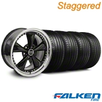 Staggered Bullitt Motorsport Black Wheel & Falken Tire Kit - 20x8.5/10 (05-10 GT, V6) - American Muscle Wheels KIT||79573||10084||mb1||79574||10085