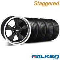 Staggered Deep Dish Bullitt Black Wheel & Falken Tire Kit - 20x8.5/10 (05-10 GT, V6) - American Muscle Wheels KIT||79573||28036||28047||79574||mb1