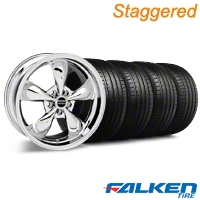 Staggered Deep Dish Bullitt Chrome Wheel & Falken Tire Kit - 20x8.5/10 (05-10 GT, V6) - American Muscle Wheels KIT||79574||28037||28048||79573||mb1