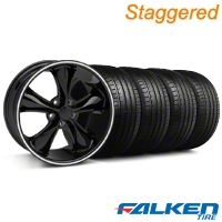 Staggered Foose Legend Black Wheel & Falken Tire Kit - 20x8.5/10 (05-14 GT, V6) - American Muscle Wheels KIT||79574||32802||32803||79573||mb1