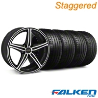 Staggered Foose Speed Black Machined Wheel & Falken Tire Kit - 20x8.5/10 (05-14 All, Excluding GT500) - American Muscle Wheels KIT||mb1||32812||79573||79574||32811