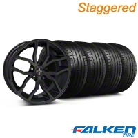 Staggered Foose Outcast Matte Black Wheel & Falken Tire Kit - 20x8.5/10 (05-14 All) - American Muscle Wheels KIT||32839||mb1||79574||32840||79573