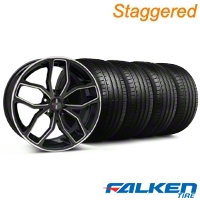 Staggered Foose Outcast Black Machined Wheel & Falken Tire Kit - 20x8.5/10 (05-14 GT All) - American Muscle Wheels KIT||mb1||79574||32842||32841||79573