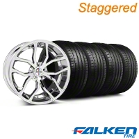 Staggered Foose Outcast Chrome Wheel & Falken Tire Kit - 20x8.5/10 (05-14 All) - American Muscle Wheels KIT||32837||mb1||79573||79574||32838