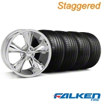 Staggered Foose Legend Chrome Wheel & Falken Tire Kit - 20x8.5/10 (05-14 GT, V6) - American Muscle Wheels KIT||mb1||32800||32801||79574||79573