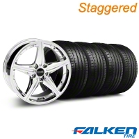 Staggered Foose Speed Chrome Wheel & Falken Tire Kit - 20x8.5/10 (05-14 All, Excluding GT500) - American Muscle Wheels KIT||32814||79573||79574||mb1||32813