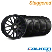 Staggered TSW Tremblant Matte Black Wheel & Falken Tire Kit - 20x8.5/10 (05-14) - American Muscle Wheels KIT||79574||79573||35617||mb1||35618