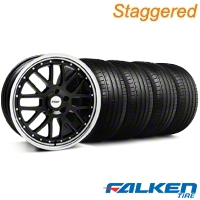 Staggered TSW Valencia Black w/ Polished Lip Wheel & Falken Tire Kit - 20x8.5/10 (05-14 All) - American Muscle Wheels KIT||79573||33628||79574||33627||mb1