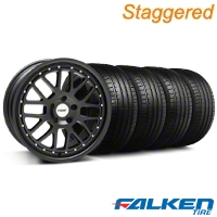 Staggered TSW Valencia Matte Black Wheel & Falken Tire Kit - 20x8.5/10 (05-14) - American Muscle Wheels KIT||79573||33616||33615||mb1||79574