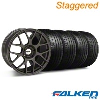 Staggered TSW Nurburing Matte Gunmetal Wheel & Falken Tire Kit - 20x8.5/10 (05-14 All) - American Muscle Wheels KIT||27358||27356||79573||mb1||79574