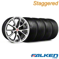 Staggered Shelby CS-40 Black Machined Wheel & Falken Tire Kit - 20x9/10 (05-14 All) - American Muscle Wheels KIT||mb1||33957||79573||33956||79574
