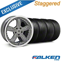 Staggered Shelby Razor Gunmetal Wheel & Falken Tire Kit - 20x9/10 (05-14 GT, V6) - American Muscle Wheels KIT||27225||79574||mb1||27224||79573