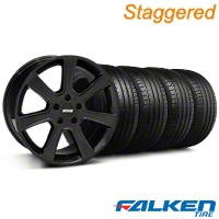 Staggered S197 Saleen Black Wheel & Falken Tire Kit - 20x9/10 (05-14) - American Muscle Wheels KIT||28363||28366||79573||79574
