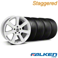 Staggered S197 Saleen Silver Wheel & Falken Tire Kit - 20x9/10 (05-14) - American Muscle Wheels KIT||28362||28365||79573||79574