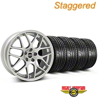 Staggered AMR Silver Wheel & Mickey Thompson Tire Kit - 20x8.5/10 (05-14 All) - American Muscle Wheels KIT||38677||79542||38678||79541