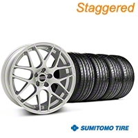 Staggered AMR Silver Wheel & Sumitomo Tire Kit - 20x8.5/10 (05-14 All) - American Muscle Wheels KIT||38678||63025||38677||63024