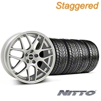 Staggered AMR Silver Wheel & NITTO Tire Kit - 20x8.5/10 (05-14 All) - American Muscle Wheels KIT||76006||38677||76005||38678