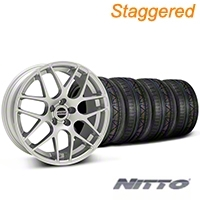 Staggered AMR Silver Wheel & NITTO INVO Tire Kit - 20x9/10 (05-14 All) - American Muscle Wheels KIT||79524||38677||79525||38678