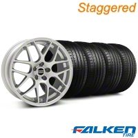 Staggered AMR Silver Wheel & Falken Tire Kit - 20x9/10 (05-14 All) - American Muscle Wheels KIT||79573||38677||79574||38678