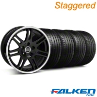Staggered 10th Anniversary Cobra Black Wheel & Falken Tire Kit - 18x9/10 (94-98) - American Muscle Wheels KIT||mb1||79562||28351||79560||28348