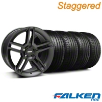 Staggered 2010 GT500 Black Wheel & Falken Tire Kit - 18x9/10 (94-98) - American Muscle Wheels KIT||79562||28219||79560||mb1||28222