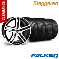 Staggered 2010 GT500 Black Machined Wheel & Falken Tire Kit - 18x9/10 (94-98) - American Muscle Wheels KIT||28221||mb1||79560||28224||79562