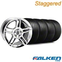 Staggered 2010 GT500 Chrome Wheel & Falken Tire Kit - 18x9/10 (94-98) - American Muscle Wheels KIT||28220||79560||mb1||28223||79562