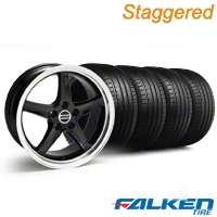 Staggered Deep Dish 1995 Cobra R Black Wheel & Falken Tire Kit - 18x9/10 (94-98) - American Muscle Wheels KIT||mb1||79562||10095||79560||10096