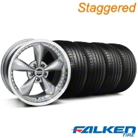 Staggered Bullitt Motorsport Anthracite Wheel & Falken Tire Kit - 18x9/10 (94-98) - American Muscle Wheels 79560||10117||KIT||79562||10119||mb1
