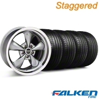 Staggered Deep Dish Bullitt Anthracite Wheel & Falken Tire Kit - 18x9/10 (94-98) - American Muscle Wheels KIT||79560||79562||mb1||28323||28322