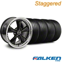 Staggered Bullitt Motorsport Black Wheel & Falken Tire Kit - 18x9/10 (94-98) - American Muscle Wheels KIT||79562||mb1||79560||10083||10082