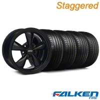 Staggered Bullitt Solid Black Wheel & Falken Tire Kit - 18x9/10 (94-98) - American Muscle Wheels KIT||28482||79562||79560||mb1||28481