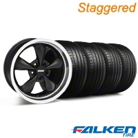Staggered Bullitt Deep Dish Matte Black Wheel & Falken Tire Kit - 18x9/10 (94-98) - American Muscle Wheels KIT||28303||28304||79562||mb1||79560