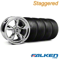 Staggered Bullitt Motorsport Chrome Wheel & Falken Tire Kit - 18x9/10 (94-98) - American Muscle Wheels 79562||10115||10113||79560||KIT||mb1