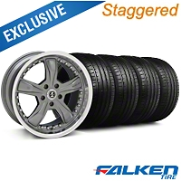 Staggered Shelby Razor Gunmetal Wheel & Falken Tire Kit - 18x9/10 (94-98) - American Muscle Wheels KIT||79560||79562||27221||mb1||27222