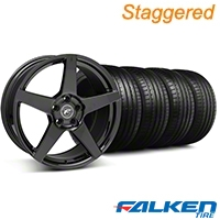 Staggered Forgestar CF5 Monoblock Piano Black Wheel & Falken Tire Kit - 18x9/10 (94-98) - American Muscle Wheels KIT||79562||79560||29833||mb1||29832